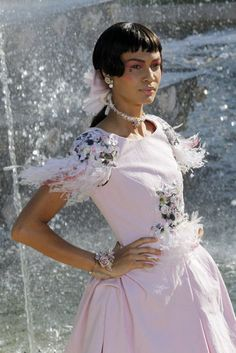 Amazing Marie Antoinette ruffled feather ensemble from Chanel's Cruise Collection