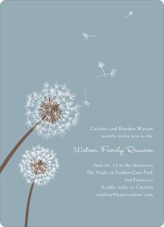 Dandelion Party Invitations