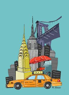 Manhattan Illustration by Michelle Romano, via Behance New York Drawing, Nyc Drawing, Usa Party, Pop Art Wallpaper, City Illustration, Digital Illustration, Les Themes, Manhattan Nyc, Chicago Skyline