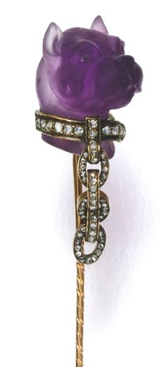 AMETHYST AND DIAMOND STICK PIN, 1880S Designed as the head of a Bulldog, composed of carved amethyst, with rose diamond set collar and lead, French assay marks.