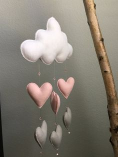Moderno feltro Baby Mobile  Cloud w / Soft Pink grigio cuore