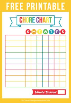 Crafty image throughout free chore chart printable