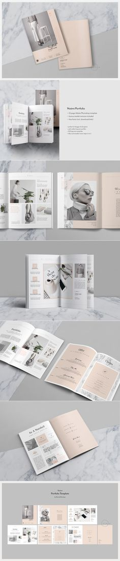 Noémi Portfolio template — 12 page PSD brochure template available as US letter by Nonola #portfoliotemplate #brochure #magazinelayout #magazine #nude #fashion #minimal #magazine #magazinetemplate #layout #magazinelayout #editorial #catalog #lifestyle #fashion #minimal #feminine #nude #editorialtemplate #typography #lookbook #psdtemplate #psd