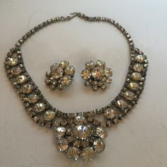 Rhinestone Necklace & Earring Set Vintage Lot 349 by OzarkFarmGirls on Etsy