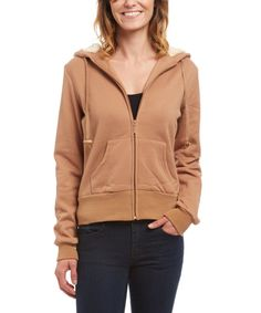 Look at this Camel Zip-Up Hoodie on #zulily today!