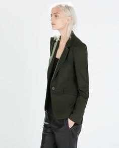 Image 1 of FITTED BLAZER WITH PLEATED SLEEVES from Zara  Tailored blazer. Fitted cut and long pleated sleeves. Single-button fastening and side pockets.