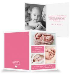 Rosa Geburtskarte Baby Mädchen, Klappkarte, weiß Design einfach stilvoll
