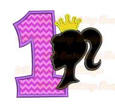 Barbie Birthday Set Embroidery Applique Design