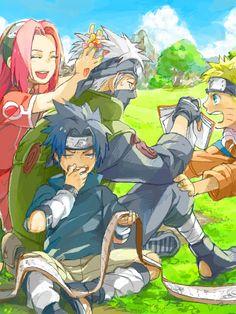 kakashi hatake, naruto shippuden, naruto uzumaki, old times, sakura haruno, sasuke uchiha, team 7