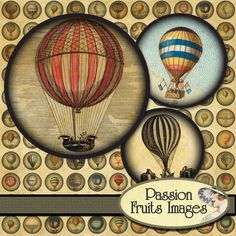 rounds hot air balloons digital collage sheet