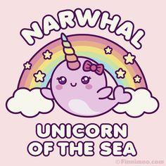 Kawaii Narwhal, Cute Narwhal, Baby Unicorn, Cute Unicorn, Magical Unicorn, Cute Pink Background, Rainbow Background, Unicorn Drawing, Unicorn Art