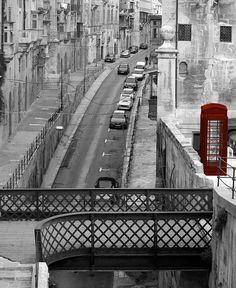 Malta, Valletta Street with Red Phone Box