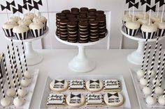 Bow and Bow Tie Baby Shower- this classic and modern black and white baby shower using simple desserts and bold graphics is perfect for any mommy to be
