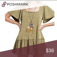 Loose Brushed knit sweater Beautiful light olive green color, Fall perfect Bell sleeves True to size Cotton blend, if you wish to style it as a mini dress go a size up. Sweaters Crew & Scoop Necks