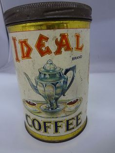 RARE Ideal 1 lb Coffee Tin Can Vintage Advertising Collectors 512 U | eBay