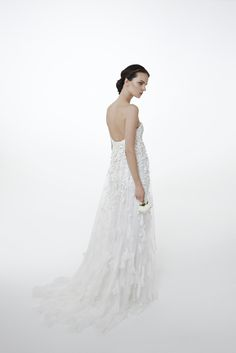 Style GINGER: Mermaid gown in silk crepe cady with embroidered cape with chiffon cubes, crystals and sequins