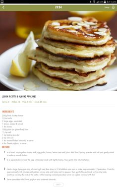 Almond Pancakes, Lemon Ricotta Pancakes, 28 By Sam Wood, Clean Recipes, Cooking Recipes, Yummy Food, Healthy Food, Healthy Eating, Healthy Recipes