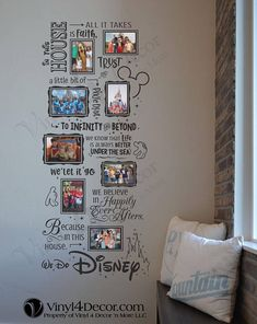 Disney In this house We do Disney Photo Collage 4 x 6 and 5 x 7 photos adhere with glue dots. Decal large wall decor sticker  Sizes of frames: These are part of the vinyl decal. The decal comes as one big piece for easy install. All you need to do is adhere your photos right to the decal