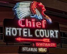 Chief Hotel Court vintage sign at Vegas' Neon Museum. Museums In Las Vegas, Las Vegas City, Cigar Store Indian, Neon Museum, Neon Words, Vintage Neon Signs, Fremont Street, Old Signs, Light Art
