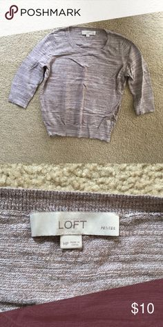Loft 3/4 Sleeve Sweater Brown colored 3/4 sleeve sweater. In great condition. 100% cotton. LOFT Sweaters Crew & Scoop Necks