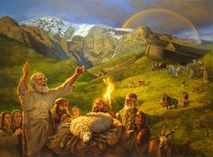 Noah giving thanks after flood Genesis Then Noah built an altar to Jehovah and took some of all the clean animals and of all the clean flying creatures and offered burnt offerings on the altar. Feasts Of The Lord, Feast Of Tabernacles, Watch And Pray, Book Of Job, Christian Pictures, Jesus Bible, Gods Glory, Biblical Art, All Themes