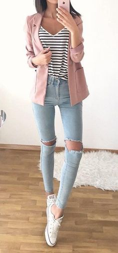 #fall #outfits · Pink Blazer // Striped Top // Destroyed Jeans // White Sneakers