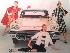Ford Thunderbird ad with models, 1959