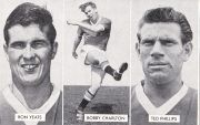 For Sale: Vintage UK Soccer find originally offered as a promotional giveaway in Rover Comic Magazines in 1962. The series is titled Cup-Tie Stars of All Nations and the card showcases Ron Yeats, Bobby Charlton & Ted Phillips. Price: $5.99