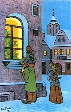 A very strong feeling of Christmas in this lovely painting by Czech artist Josef Lada Winter Illustration, Illustration Art, Naive Art, Winter Scenes, Snow Scenes, Vintage Christmas Cards, Illustrations, Advent, Prague