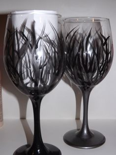 Wild Vines Wine Glasses Hand Painted Black by FunctionalyEnchanted, $20.00