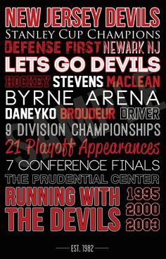 new jersey devils poster canvas art typography graphic design gift hockey