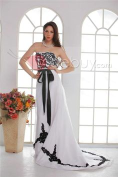 Sophisticated Angela's A-line Strapless Floor-length Chapel Appliques Wedding Dress : Tidebuy.com