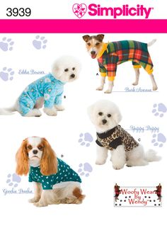 Dog Clothes In Three Sizes Sewing Pattern 3939 Simplicity Penny is getting KU fleece jammies for Christmas!