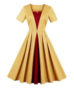 Another great find on #zulily! Yellow Pleated A-Line Dress #zulilyfinds