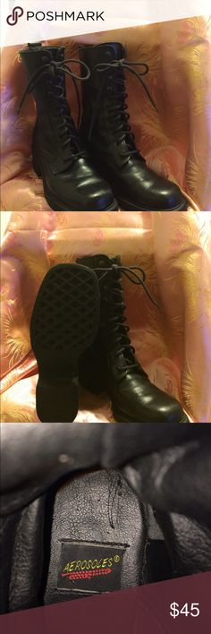 """Aerosols black tall boots size 7 1/2 This is a pair of aerosols boots have 2""""hell and 1/2"""" soles in good condition,with some were around the top of the boot very minimal aerosoles Shoes Combat & Moto Boots"""