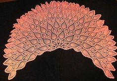 Pink pineapple shawl with a diagram, .