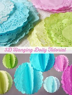 Hanging Doilies Tutorial by Lisa Storms - learn how to dye them and turn them into beautiful party decor! Paper Doily Crafts, Doilies Crafts, Paper Doilies, Craft Tutorials, Craft Projects, Craft Ideas, Decor Ideas, Grad Parties, Birthday Parties