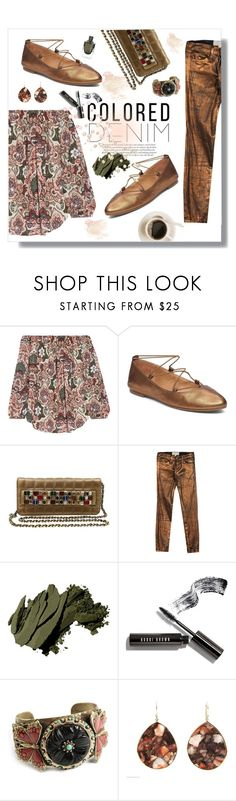 """Spring Trend: Colored Denim"" by flippintickledinc ❤ liked on Polyvore featuring Haute Hippie, Lucky Brand, Chanel, Current/Elliott, Bobbi Brown Cosmetics, Sweet Romance, Ippolita and coloredjeans"