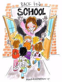 """Back to school"" -Blond Amsterdam 2015 Blond Amsterdam, Amsterdam School, Diy Back To School, School S, Magic Crafts, School Murals, School Posters, Watercolor Fashion, Teachers' Day"