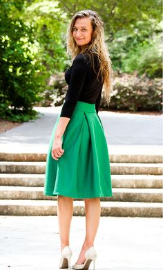 444f1523b3075 Box pleated mid length office skirt with hidden back zipper available in  M-XL in