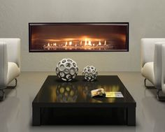 European Home's Halcyon direct-vent fireplace with stainless steel liner Direct Vent Gas Fireplace, Linear Fireplace, Wall Mount Electric Fireplace, Small Fireplace, Fireplace Inserts, Fireplace Design, Fireplace Ideas, Fireplace Glass, American Interior