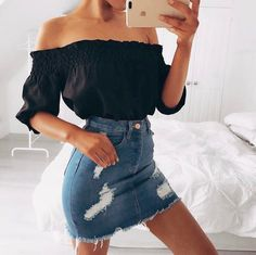 26 Stylish Summer Outfits to Look Gorgeous All The Time - outfits - Mode Stylish Summer Outfits, Spring Outfits, Casual Outfits, Outfit Summer, Summer Outfits For Teen Girls Hipster, Basic Outfits, Casual Jeans, Summer Wear, Summer Fun