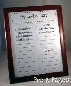 make your own picture frame to-do list for one dollar via www.pre-kpages.com