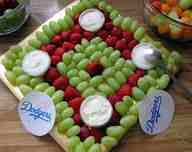 Diamond fruit tray for softball party