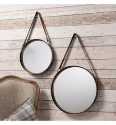 Round bronze set of 2 hanging mirror with leather look strap