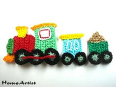 Patches – Crochet Applique Embellishments train – a unique product by HomeAr. Crochet For Boys, Cute Crochet, Crochet Motif, Crochet Crafts, Easy Crochet, Crochet Flowers, Crochet Toys, Crochet Stitches, Crochet Baby