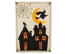 Halloween haunted house dishtowel