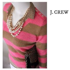 JCrew Sz (XS) Pink and Tan Striped Wool Sweater JCrew pink and tan striped sweater, soft and warm! 46% Acrylic, 24% Nylon, 20% Wool, and 10% Nylon. Freshly dry cleaned and in great condition. No stains or tears. So cute with a punch of leopard print. J. Crew Sweaters Crew & Scoop Necks