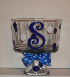 Personalized Glass Trifle Bowl polka dot Initial monogram Wedding shower gift. $24.00, via Etsy.