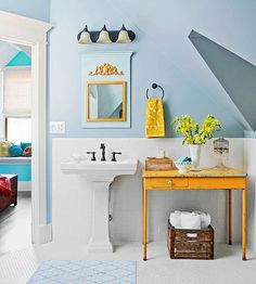 Let our color, tile, vanity, and lighting ideas help you channel a vintage design in your bathroom during your next remodel. Salvaged and reclaimed pieces lend a farmhouse, rustic look to the space while easy DIY decorating ideas help keep you on budget.